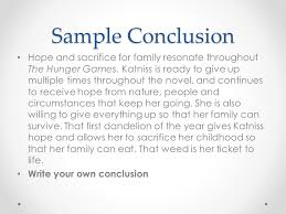 literary analysis the hunger games ppt video online  22 sample conclusion hope and sacrifice for family resonate throughout the hunger games