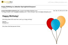 Sample Happy Birthday Email Feature Happy Birthday from Your Child Care Center Easy and 1