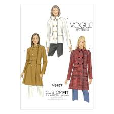 vogue sewing pattern misses lined double ted coat size 6 22 v9157