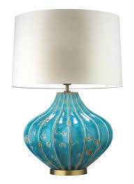 turquoise blue le table lamp glass shade claudette