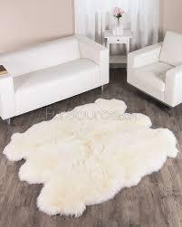 6 pelt eggshell white sheep fur rug to