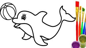 learn colors with dolphin and ball coloring pages drawing for childrens