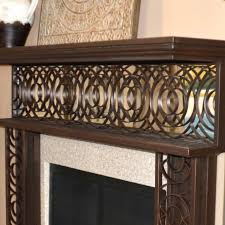 metal fireplace mantel mirrored wrought iron cast shelf