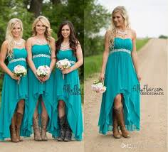 Discount Short Western Style Wedding Dresses  2017 Short Western Country Western Style Bridesmaid Dresses