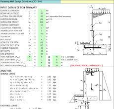 concrete retaining wall design spreadsheet
