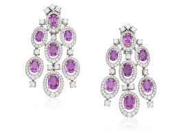 diamond and pink sapphire chandelier earrings