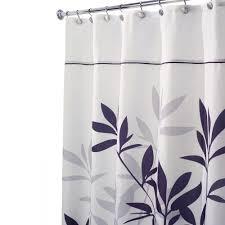 black and gray shower curtain. interdesign leaves stall-size shower curtain in black and gray e