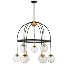 chandelier with clear glass globes and brass detail