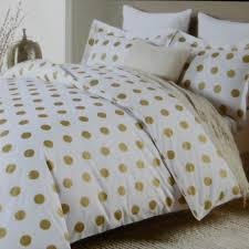 Polka Dot Bedroom Nicole Miller Large Polka Dot 3pc Queen Duvet Set Gold On White