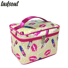 ladsoul large capacity cosmetic bag fashion makeup bag lips travel organizer bags good quality portable storage bags a1341 g