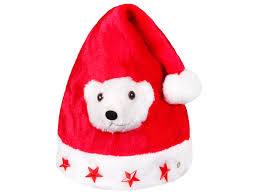 Weihnachtsmütze Nikolaus Mütze Blink Sterne Teddy Bär Leucht