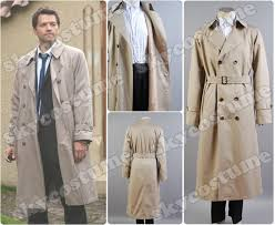 supernatural castiel twill trench coat cosplay costume from supernatural