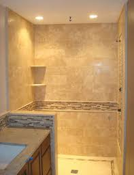 Travertine Shower & Back Splash with Glass Feature Band