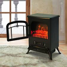 Homcom Freestanding Electric Fire Place Indoor Heater Glass View Log Wood  Burning Effect Flame Portable Fireplace