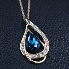 full set teardrop pendant. TREAZY Fashion Peacock Blue Crystal Teardrop Pendant Necklace Earrings Set Women Wedding Party Jewelry Sets Costume Accessories-in Bridal From Full
