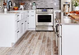 Kitchen tile flooring Laminate Planks Of Woodlook Tile Flooring In Kitchen Lowes Tile Woodlook Flooring Ideas