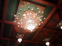 a chandelier in one of the durga puja pandals in west bengal india