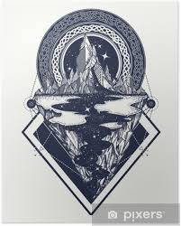 Plakát Hory Tetování Geometrický Styl