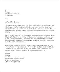 Recommendation Letter For Colleague Recommendation Letter For A Friend Sample Reference