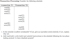 Schedule Conflict Solved Transaction Processing Consider The Following Sche
