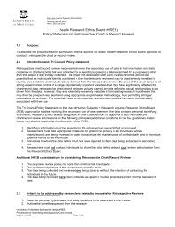 Standards Of Review Chart Policy Statement On Retrospective Chart Or