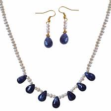 42cts real drop blue sapphire freshwater pearl necklace earrings set pearl set