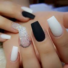 Black And White Nail Designs Acrylic Nails Matte Black Sparkles And White White Nail Designs Cute