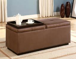 brown leather ottoman coffee table with trays