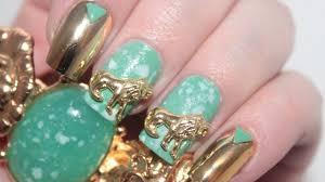Ancient Jade Nail Art Tutorial + Custom Nail Studs - YouTube