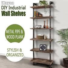 wood ladder wall shelves diy 6 layer industrial rustic pipe book shelf g3d2