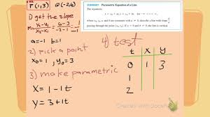 find the parametric equation of a line segment between two points