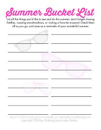 Bucket List Printable Template Free Printable Template Summer Bucket List Pdf Summer