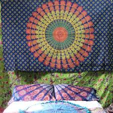blue bohemian mandala wall tapestry fl bedding