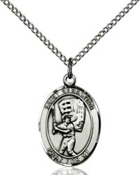 bliss baseball st sebastian sports medal sterling silver 24 chain necklace