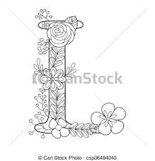 letter l coloring book for s vector
