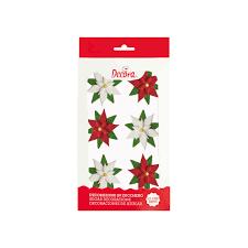Zucker Dekor Weihnachtsstern Rot Weiß 6 Stk