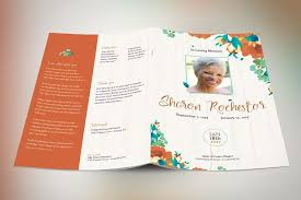 Autumn Floral Funeral Program Template | Design Bundles