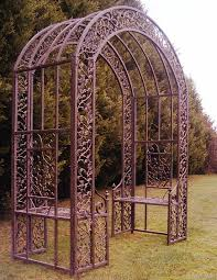 wrought iron garden arch with seat