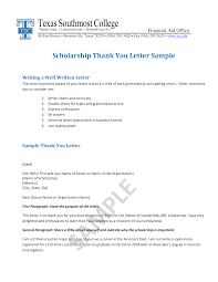 Scholarship Thank You Letter Sample Templates At