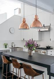 industrial pendant lighting for kitchen. Modern Kitchen With Bronze Bar Chairs, And Rose Gold Industrial Pendant Lights Lighting For