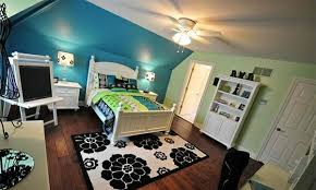 Bedroom colors ideas blue and bright lime green Interior Design