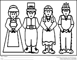 Thanksgiving Coloring Pages Pilgrims And Americans