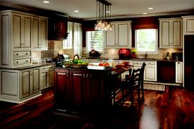 Kitchen:Nice Looking Kitchen Design With L Shape White Kitchen Cabinet And Dark  Wooden Flooring
