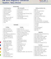 Sample Baby Shower Checklist Baby Shower Giftist Printable Registry Present Walmart Unique Gift 10