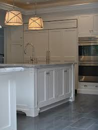 white kitchen tile floor. Amazing Kitchen With Gray Staggered Tile Floor Transitional For White B