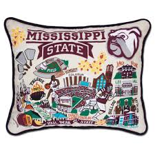 Mississippi State University Embroidery Designs Mississippi State University Collegiate Embroidered Pillow