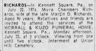 Myra Richards nee Chambers obituary - Newspapers.com