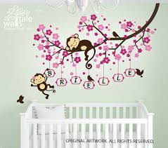 cherry blossom tree branch wall decal with cute monkeys and name