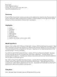 Resume Templates: Financial Reporting Analyst