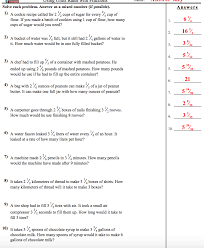 unit rates with fractions worksheet answers